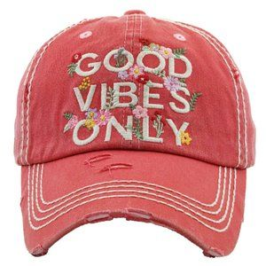Good Vibes Only Pink Salmon Distressed Hat